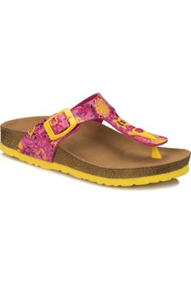 Kinetix Regina Print Fuşya Neon Sarı Kız Çocuk Basic Sandalet
