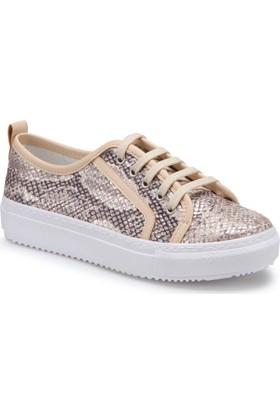 Butigo S767 Altin Kadın Sneaker Ayakkabı Kalin Taban Keten