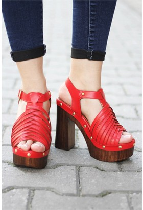 İnce Topuk Platformlu Örgü Topuklu Ayakkabı
