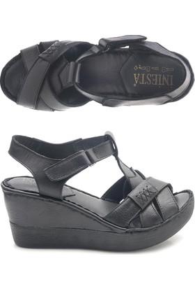 İniesta 003252 Hakiki Deri Dolgu Topuk Bayan Sandalet