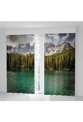 Positivehome Alpler Göl Ağaçlar Doğa Manzaralı Mavi Yeşil Fon Perde