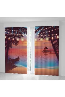 Positivehome Romantik Gün Batımı Palmiye Deniz Manzaralı Fon Perde