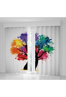 Positivehome Rengarenk Ağaç Sulu Boya Etkili Dekoratif Fon Perde