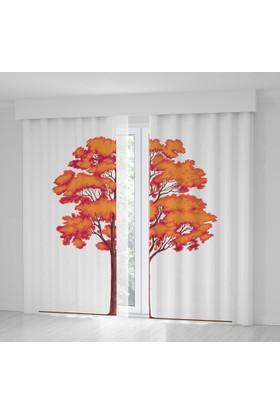 Positivehome KırmızıTuruncu Ağaç Yapraklar Sonbahar Fon Perde
