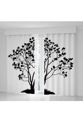 Positivehome Siyah Beyaz Ağaç Yapraklar Fon Perde