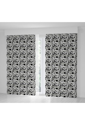 Positivehome Siyah Beyaz Çiçek Desenli Fon Perde