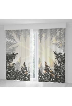 Positivehome Çam Ağaçları Kar Kış Gökyüzü Manzaralı Fon Perde