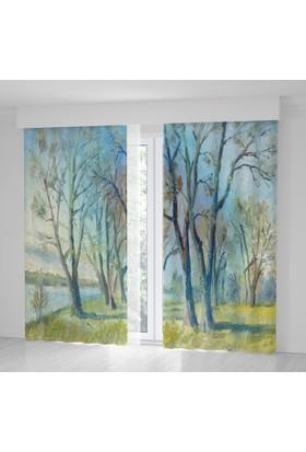 Positivehome Yağlı Boya Etkili İlkbahar Ağaç Manzaralı Fon Perde
