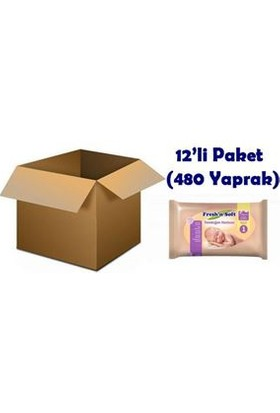 Fresh'N Soft Yenidoğan Bebek Havlusu 12'li Paket (480 Yaprak)