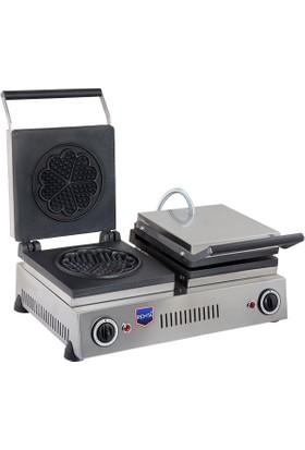 Remta Çiftli Çiçek Model Waffle Makinası Elektrikli 21 cm Çap