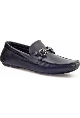 Cabani Tokalı Makosen Günlük Erkek Ayakkabı Siyah Analin Deri