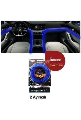 Şerit Neon 12V 5Mt Kablo Tip Koyu Mavi
