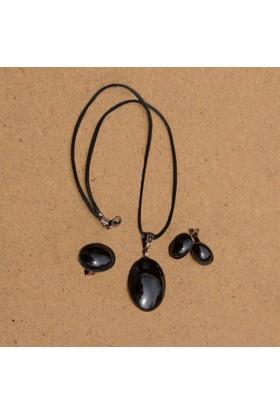Pileks Aksesuar İznik Çinisi Kuvars Takı Seti 170101 Siyah