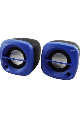 Flaxes FLX-024M USB 6 Watt 3W*2 1+1 Siyah Mavi Speaker