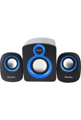 Flaxes 2+1 Subwoofer 11W 5W+3W*2W Multimedya Speaker Siyah Mavi