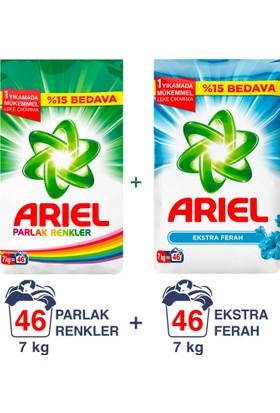 Ariel Toz Çamaşır Deterjanı Ekstra Ferah 7kg + Parlak Renkler 7 kg