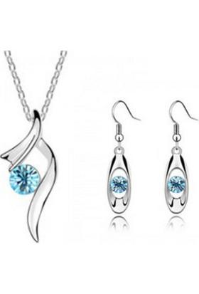 Myfavori Seti Gümüş Kaplama Açık Mavi Kolye Küpe Söz Nişan Takı Setleri