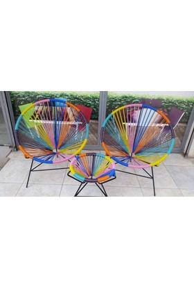 Neodesign Bahçe Rattan Sandalye Gökkuşağı Takım