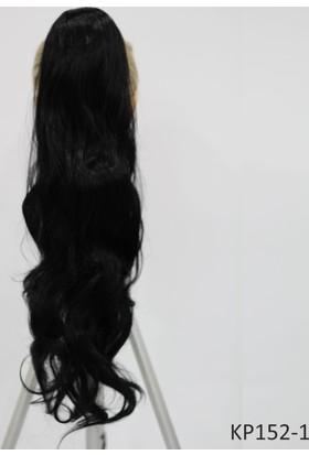 Saç Ve Peruk Fiber Sentetik Tokalı Postiş At Kuyruğu Saç Siyah Renk