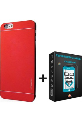 Case Man Apple iPhone 6s Plus Kılıf Motomo Alüminyum Metal Kaplama + Cam