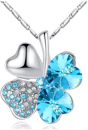 A-Leaf 4 Yaprak Yonca Şans Kolyesi Bayan Kolye Zirkon Şans Aşk Umut İnanç Sembolü Mavi