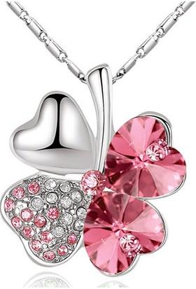 A-Leaf 4 Yaprak Yonca Şans Kolyesi Bayan Kolye Zirkon Şans Aşk Umut İnanç Sembolü Pembe