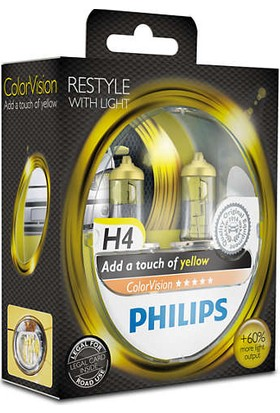 Philips H4 Tip Color Vision Yellow Far Ampül Seti 106208