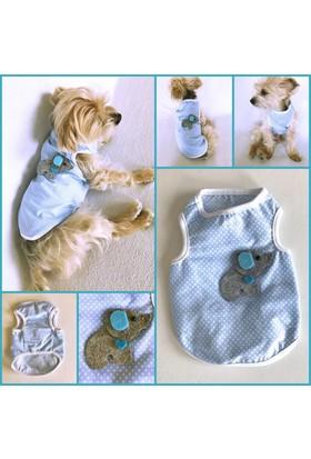 Mavi Cute Elephant Atlet - Summer T By Kemique - Köpek Kıyafeti - Köpek Elbisesi