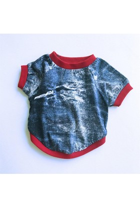 Mavi 3D Denım - Oval Yaka Tişört - T By Kemique - Köpek Kıyafeti - Köpek Elbisesi