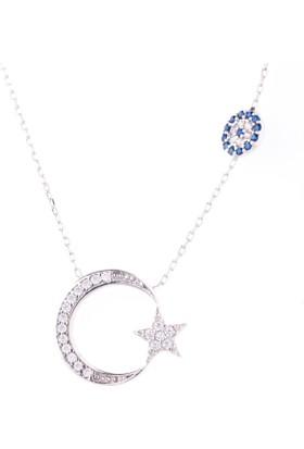 Hayal Gümüş 925 Ayar Nazar Boncuklu Zirkon Taşlı Kolye Ay Yıldız