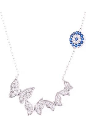 Hayal Gümüş 925 Ayar Nazar Boncuklu Zirkon Taşlı Kolye Kelebekler