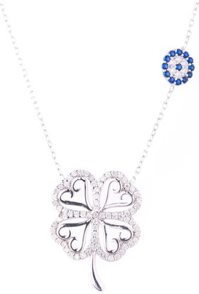 Hayal Gümüş 925 Ayar Nazar Boncuklu Zirkon Taşlı Kolye Kalpli Şans Yonca