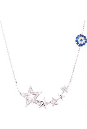 Hayal Gümüş 925 Ayar Nazar Boncuklu Zirkon Taşlı Kolye Yıldızlar