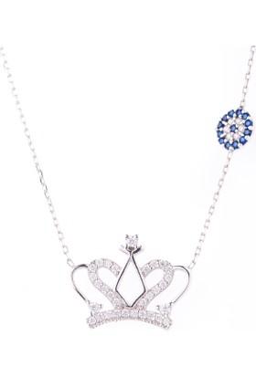 Hayal Gümüş 925 Ayar Nazar Boncuklu Zirkon Taşlı Kolye Kraliçe Taç
