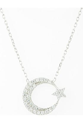 Hayal Gümüş 925 Ayar Zirkon Taşlı Kolye Ay Yıldız