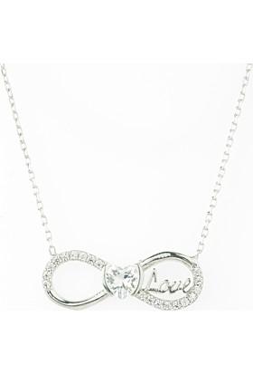 Hayal Gümüş 925 Ayar Zirkon Taşlı Kolye Sonsuzluk Love Kalp