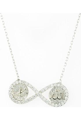Hayal Gümüş 925 Ayar Zirkon Taşlı Kolye Sonsuzluk Allah Muhammed