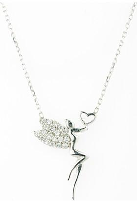 Hayal Gümüş 925 Ayar Zirkon Taşlı Kolye Kalpli Su Perisi