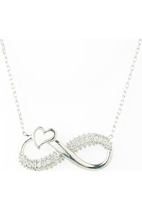 Hayal Gümüş 925 Ayar Zirkon Taşlı Kolye Kalp Sonsuzluk