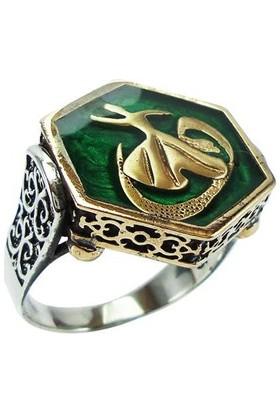 Osmanlı Gümüş Mevlevi Semazen Yeşil Mineli Gümüş Erkek Yüzük