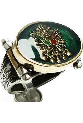 Osmanlı Gümüş Yosun Mineli Osmanlı Armasi Gümüş Erkek Yüzüğü