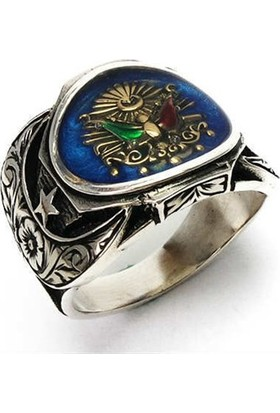 Osmanlı Gümüş Gümüş Erkek Yüzük Osmanlı Armalı Mavi Mineli