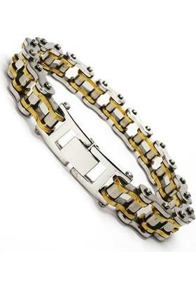 Osmanlı Gümüş Motosiklet Zinciri Erkek Çelik Bileklik Sarı Orta Kalınlık