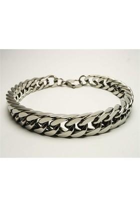 Osmanlı Gümüş Özel Sik Örme Çelik Erkek Bileklik Künye