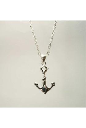 Osmanlı Gümüş Gemi Çapasi Gümüş Bayan Kolye Küçük Boy