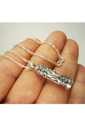 Osmanlı Gümüş Hz.Muhammed Yazılı Bayan Gümüş Muska Cevşen Kolye