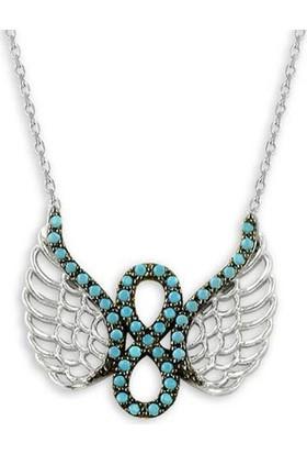 Osmanlı Gümüş Sevgiliye Hediye Turkuaz Taşlı Melek Kanadi Sonsuzluk Bayan Gümüş Kolye