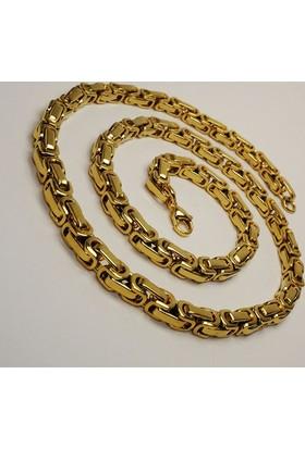 Osmanlı Gümüş Altın Kaplama Kral Erkek Çelik Kolye Zincir Orta Kalınlıkta
