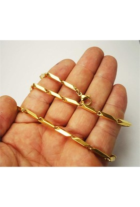 Osmanlı Gümüş Çelik Erkek Kolye Zincir İnce Altın Sarisi Model
