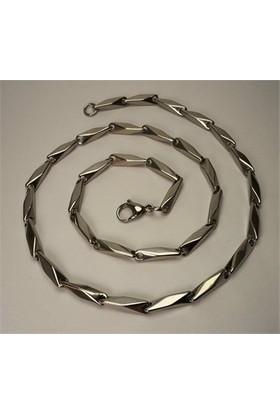 Osmanlı Gümüş Çelik Erkek Kolye Zincir Orta Kalınlıkta